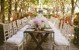 We hire tables and chairs to weddings